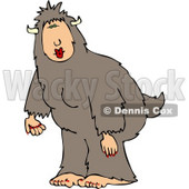 Woman Wearing a Halloween Bigfoot Costume Clipart © djart #5065