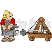 Roman Army Soldier Firing Projectiles from a Catapult Clipart © Dennis Cox #5080