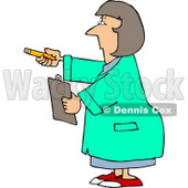 Female Scientist Holding Pencil & Clipboard Clipart © djart #5081