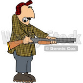 Uneasy Man Pointing a Loaded Shotgun at Someone Clipart © Dennis Cox #5084