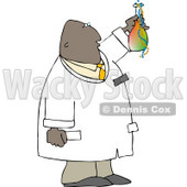African American Scientist Holding Beaker with Chemicals Clipart © djart #5087