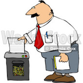 Man Shredding Confidential Papers Clipart © Dennis Cox #5088