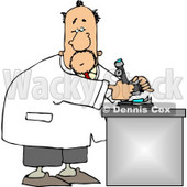 Male Biology Scientist Using Microscope Clipart © Dennis Cox #5089