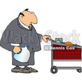 Businessman Pushing a Shopping Cart in a Grocery Store Clipart © djart #5090