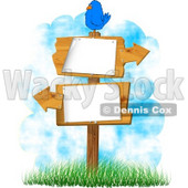 Bird Perched On a Blank Sign with Arrows Pointing In Opposite Directions Clipart © Dennis Cox #5091