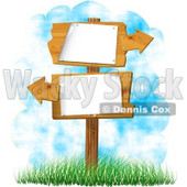 Blank Sign with Arrows Pointing In Opposite Directions Clipart © Dennis Cox #5095