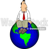 Businessman Sitting On Top of the World Clipart © djart #5098