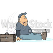 Man Slipping On Water Puddle and Falling to the Ground Clipart © djart #5099
