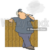 Man Smoking a Big Cigarette In His Backyard Against a Fence Clipart © djart #5102