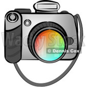 Digital SLR Camera with Flash Clipart © Dennis Cox #5103
