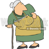 Old Lady with Back Pains Clipart © Dennis Cox #5107