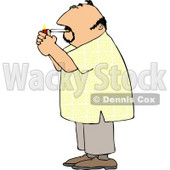Man Lighting a Cigarette with a Lighter Clipart © djart #5109