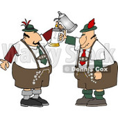 Two German Men with Beer Steins Celebrating Oktoberfest Clipart © Dennis Cox #5114