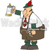 German Man Celebrating Oktoberfest with a Beer Stein Clipart © djart #5116