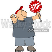Cross Guard Man Stopping Traffic so Pedestrians Can Cross the Street Clipart © djart #5118