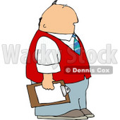 Caucasian Male Store Manager Holding a Clipboard Clipart © djart #5120