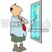 Man Putting Business Tie On In Front of Mirror Clipart © Dennis Cox #5125