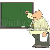Male School Teacher Pointing at a Blank Chalkboard Clipart © Dennis Cox #5127