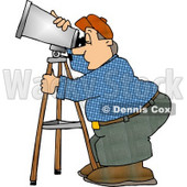 Man Looking Through a Telescope Clipart © Dennis Cox #5130