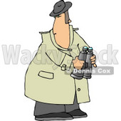 Male Spy Wearing a Trench Coat and Holding Binoculars Clipart © Dennis Cox #5137