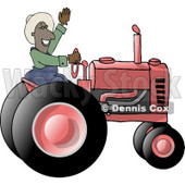 Male Ethnic Farmer Waving Hello On a Tractor Clipart © djart #5143
