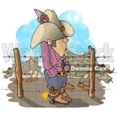 Texas Rancher Man Standing Beside Fenced In Cattle Clipart © Dennis Cox #5144