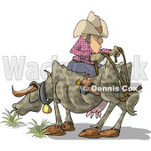 Funny Cowboy Sitting Backwards On Cow Clipart © Dennis Cox #5145