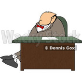 Businessman Stretching Legs Behind Office Desk Clipart © Dennis Cox #5148