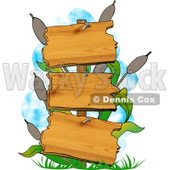 Blank Swamp Signs with Cattails and Grasses Clipart © djart #5154