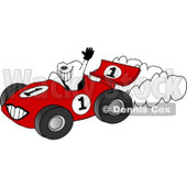 Happy, Healthy Tooth Driving a Race Car Clipart © djart #5155