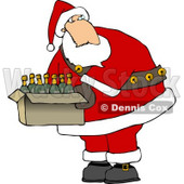 Santa Holding a Box of Wines Clipart © djart #5157