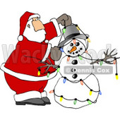 Santa Decorating Snowman with Colorful Christmas Lights Clipart © Dennis Cox #5160