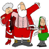 Mrs. Claus & Elf Helping Santa Get Dressed for Christmas Clipart © Dennis Cox #5161