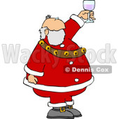 Santa Proposing a Toast with a Glass of Wine Clipart © Dennis Cox #5163