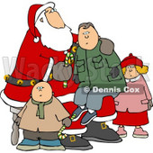 Children with Santa and Boy Sitting On His Lap Clipart © Dennis Cox #5164