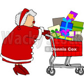 Mrs. Clause Pushing a Shopping Cart Full of Christmas Presents  Clipart © djart #5165