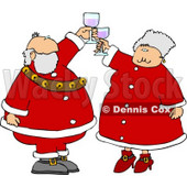 Mr. And Mrs. Claus Toasting Wine Glasses Together Clipart © djart #5168