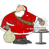 Santa Grabbing Chocolate Chip Cookie While Delivering Christmas Presents Clipart © djart #5169