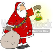 Santa Clause Carrying a Lit Gas Lantern While Delivering Christmas Presents at Night Clipart © djart #5171