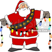 Santa Decorating with Christmas Lights Clipart © djart #5173