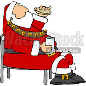 Santa Eating Chocolate Chip Cookies and Drinking Milk Clipart © Dennis Cox #5174