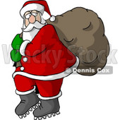 Santa Carrying Full Bag of Christmas Presents Clipart © djart #5175