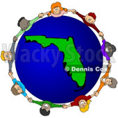 Royalty-Free (RF) Clipart Illustration of a Circle Of Children Holding Hands Around A Florida Globe © djart #51809