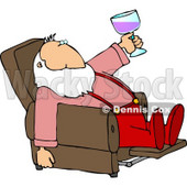 Relaxed Santa Drinking Wine In His Favorite Recliner Chair Clipart © Dennis Cox #5181
