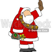 Drunk Santa Waving While Holding a Bottle of Wine Clipart © djart #5182