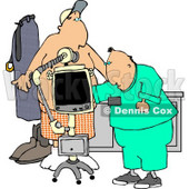 Male Doctor Taking Getting an X-ray of His Patients Stomach/Chest Area Clipart © Dennis Cox #5187