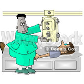 African American Male Doctor Taking an X-ray of His Patients Chest Clipart © Dennis Cox #5189