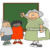 Female Elementary School Teacher Teaching Students in a Classroom On a Chalkboard Clipart © djart #5191