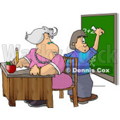 Female Math Teacher Watching Student Write a Math Equation On a Chalkboard Clipart © djart #5193