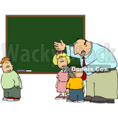 Elementary Male School Teacher Explaining to Students In Front of a Chalkboard Clipart © Dennis Cox #5194